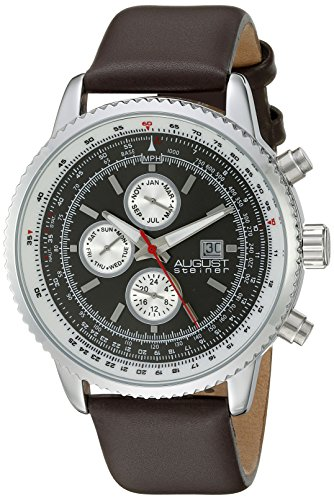 August Steiner Men's AS8189SSBR Silver Multifunction Quartz Watch with White and Black Dial and Brown Leather Strap ()