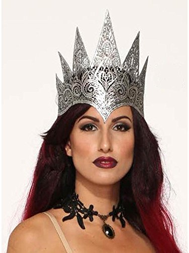 Forum Novelties Men's Dark Royalty Lace Queen Crown Party Supplies, Standard, Gray -