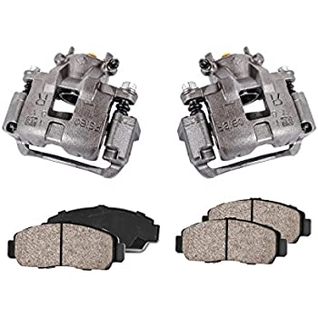 2 Hardware Kit Ceramic Brake Pads REAR Premium Loaded Original Caliper Pair Callahan CCK04148