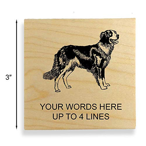 Border Collie Dog Rubber Stamp - Extra Large - 3 inches (75mm) Tall. - Select from Several Sizes - Can be Customized with Your own Address, Message or Text