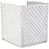 "White Outdoor 3 Panel Wood 38"" Height Air Conditioner Screen Privacy Fence Hideaway"