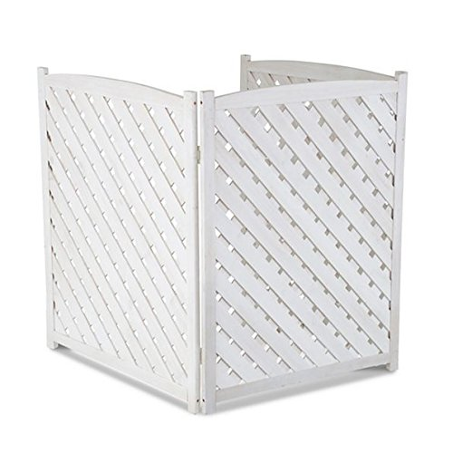 White outdoor 3 panel wood 38 height air conditioner for Outdoor wood screen panels