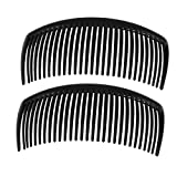 2 Pcs Black Plastic Comb Hair Clip Clamp for Ladies