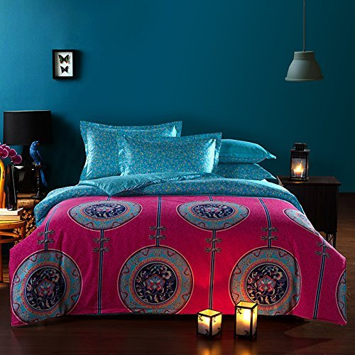 Zacard Bohemian Style Duvet Covers Bedding Set 4-Pieces Full Size Boho Chic Bedding