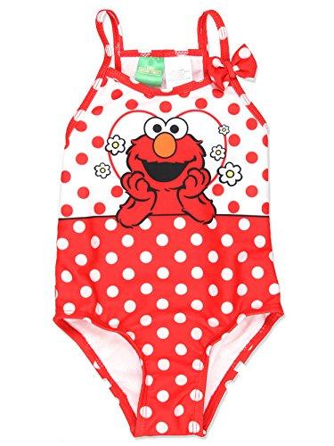 Sesame Street Elmo Girls Swimwear Swimsuit (4T, Red)]()