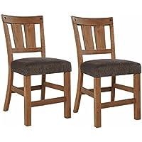 Ashley Furniture Signature Design - Tamilo Upholstered Barstool - Set of 2 Casual Bar Stools - Light Brown
