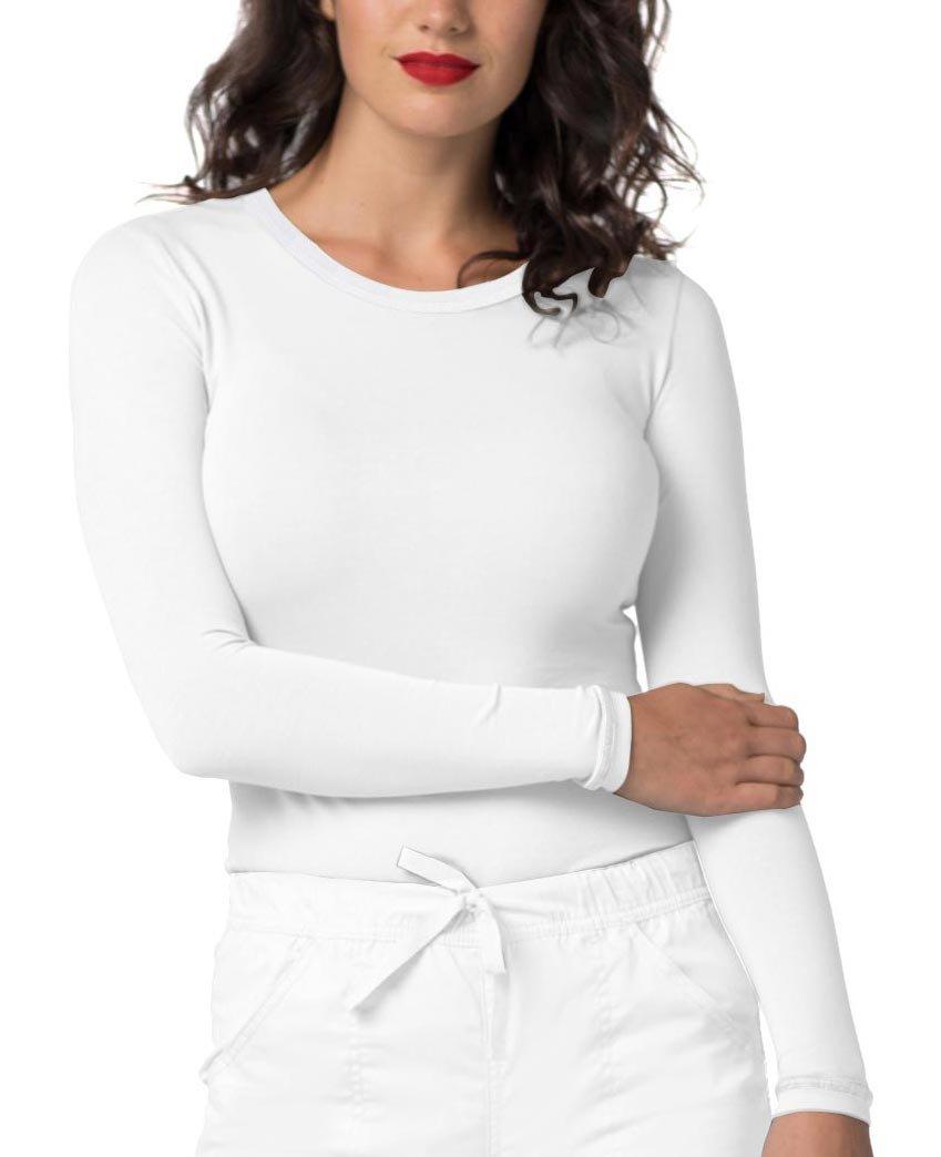 Adar Pop-Stretch Tonal Long Sleeve Fitted Scrub Tee - 3402 - White - M