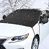 Windshield Snow Cover-LinGear Auto Ice and Frost Guard-Non Scratch Magnetic-Winter Snow Removal Protector-All Weather Waterproof Windproof Front Windshields-with Mirror Covers-Fits Most Car,SUV,Van,Trucks - Easy to Install (81 x 59inches)