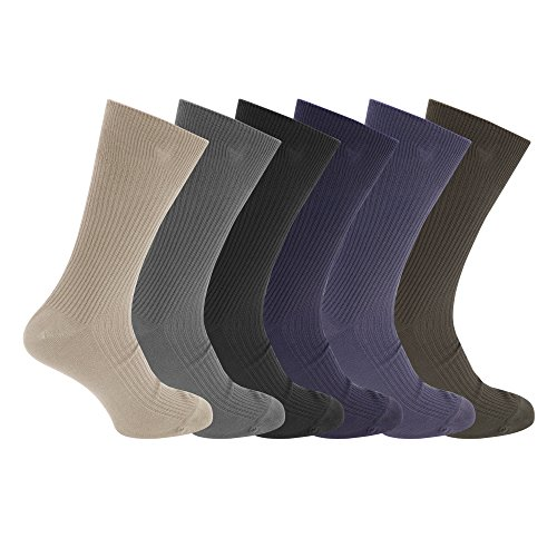 Mens Ribbed Non Elastic Top Socks (Pack Of 6) (US 12-15) (Navy/ Green/ (Ribbed Diabetic Socks)
