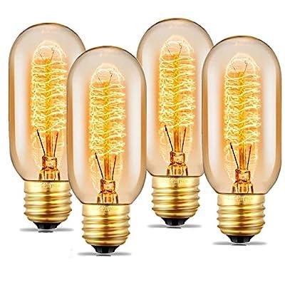 Edison Light Bulb, Vintage Light Bulb, Dimmable Incandescent Light Bulb, 110v - 130v, E27/E26 Base - Amber Warm - T45 Tubular Shape - Clear Glass Light Bulbs for Home Light Fixtures