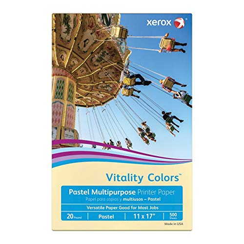 Ivory Recycled Paper (Xerox Vitality Colors Multipurpose Printer Paper, Ledger Paper Size, 20 Lb, 30% Recycled, Ivory, Ream of 500 Sheets)