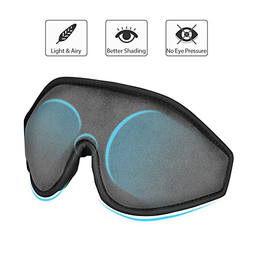 Sleep Mask - Lightweight & Comfortable Eye Mask - Blindfold Eye Shield with Ear Plugs,Travel Pouch - For Men Women Kids Who are on Airplane, Office and Bed - A Perfect Gift For Eyes(Grey)