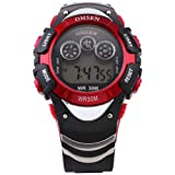 OHSEN Mens Red Date Alarm 7 Modes Backlights Multifunction Sport Rubber Watch, Watch Central