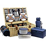 HappyPicnic Fitted Willow Picnic Basket with Deluxe Service for 4 Persons, Natural Wicker Picnic Hamper, Willow Picnic Set with Food Cooler, Wine Cooler, Fleece Blanket and Tableware (Navy Blue)