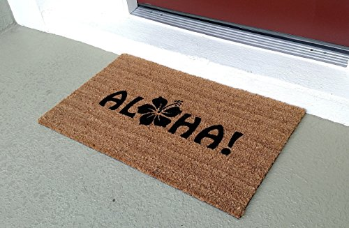 Aloha with a Flower Custom Doormat, Size Large by Killer Doormats