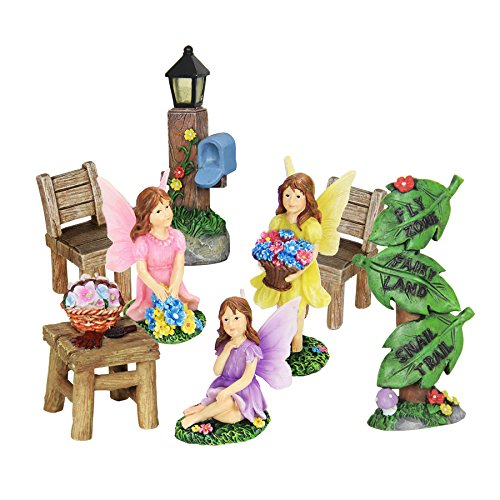 Exhart Fairy Outdoor Figurine Garden Statues, Resin, Set of 8, Includes Three Fairies, Chairs and Table Set, Lantern Mailbox Post, and Leaf Road Sign Post, 2.5″ L x 1.5″ W x 3.5″ H Review