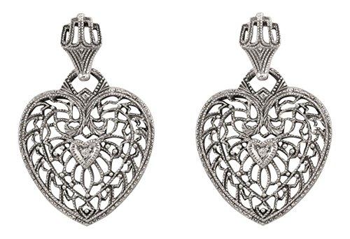Antique Style Filigree Heart Shaped Diamond Earrings in Sterling Silver
