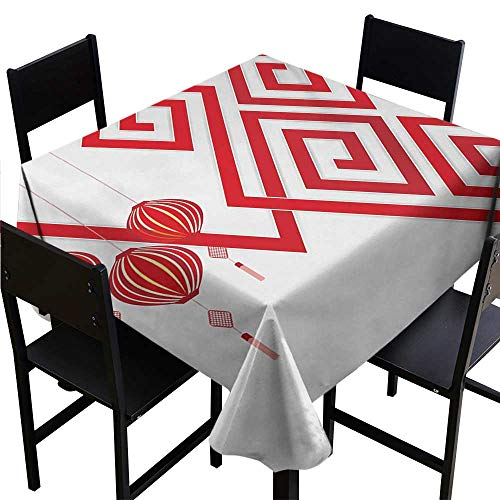 - Tablecloth Weights Lantern,Chinese Cultural Elements with Abstract Vortexes Modern Art with Classical Print,White Red 50