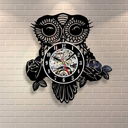 Kovides I Love Owl Wall Clock Owl Wall Decal Nature Art Decorations for Living Room Owl is Need Your Love Nature Retro Vinyl Record Clock Vintage Wall Clock Bird Owl Wall Art ()
