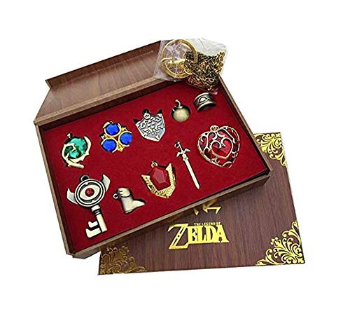 The Legend of Zelda Twilight Princess & Hylian Shield & Master Sword finest collection sets keychain / necklace / jewelry series (Red-10set) (Pendant Gold Twilight)