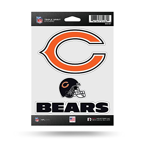 Rico Industries NFL Chicago Bears Die Cut 3-Piece Triple Spirit Sticker Sheet ()