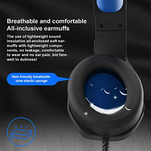 Gaming Headset,3.5mm Blue Gaming Headset,MH602 PS4 Headset for PC, Laptop, Xbox One, Mac, iPad, Nintendo Switch Games, Computer Game Gamer Over Ear Flexible Microphone Volume Control with Mic