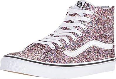 e465b1aa914063 Vans Women s Sk8-Hi Slim Zip (Chunky Glitter) True White Skateboarding Shoes  VN0A349CLX7