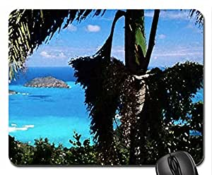 tropical paradise Mouse Pad, Mousepad (Beaches Mouse Pad, Watercolor style)