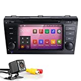 HIZPO 7 Inch Double Din In Dash HD Touch Screen Android 7.1 Car DVD Player GPS Navigation Stereo For Mazda 3 2004-2009 Support Navi/Bluetooth/SD/USB/FM/AM Radio/WIFI/DVR/1080P