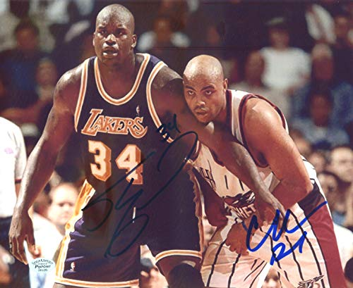 Barkley Autographed Basketball (Shaquille O'Neal Los Angeles Lakers Charles Barkley Houston Rockets Dual Signed Autographed 8