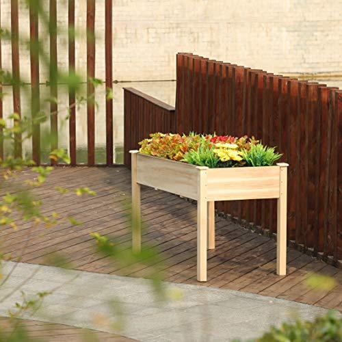 PHI VILLA Raised Garden Bed Elevated Planter Box for Vegetable/Flower/Fruit/Herb (48