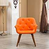 Roundhill Furniture AC122OG Vauclucy Contemporary Faux Leather Diamond Tufted Accent Chair, Orange