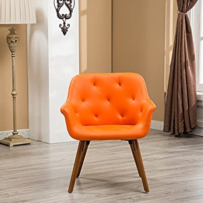 Roundhill Furniture Vauclucy Contemporary Faux Leather Diamond Tufted Accent Chair, Orange - Bucket style chairs with flared arms and flared post legs. Features diamond-tufted Back and Seat. Solid wood frame legs come in a light brown Finish. The chair is upholstered in faux Leather and Comes in your choice of gorgeous colors. - living-room-furniture, living-room, accent-chairs - 51hCar13kiL. SS400  -
