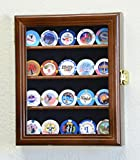 XS Casino Chip Coin Display Case Cabinet Holder Rack Box Holds up to 20 Coins, 98% UV Lockable, Walnut