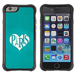 "All-Round Hybrid Rubber Case Hard Cover Protective Accessory Compatible with Apple iPhone 6PLUS ¡ê¡§5.5"") - Eifel tower love teal heart"