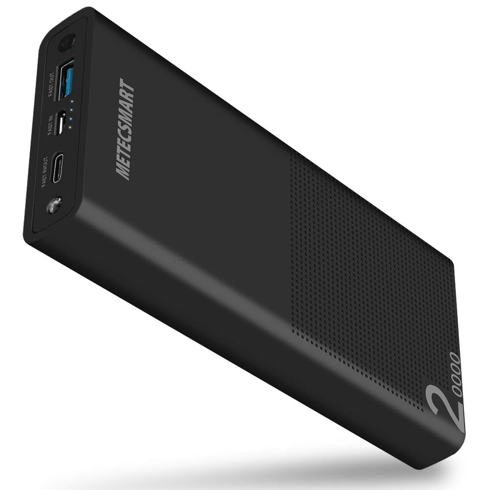 Power Bank 20000mah Portable Charger - Quick Charge 3.0 USB C Fast Charging Type C Backup Mobile External Battery Pack Powerbank Cell Phone Compatible with iPhones XS XR X Max 6 7 8 10 iPad Metecsmart