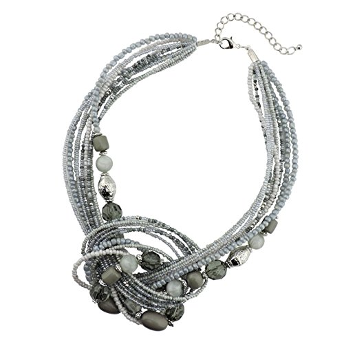 Bocar Seed Beads Antique Gold Multilayer Statement Collar Necklace (NK-10345-grey)