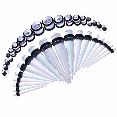 BodyJ4You 36 Pieces Gauges Kit Radiance Aurora Tapers with Plugs 14G-00G Stretching Kit - 18 (Gage Set)