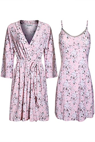 SofiePJ Women's Printed Chemise and Robe 2 Piece Sleep Set Light Pink (Womens Printed Chemises)