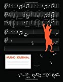 Music Journal: Blank Music Sheet Notebook - Feline Climbing Staffs