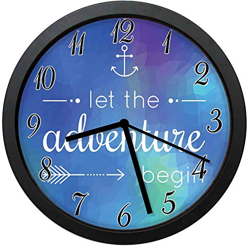 Blue Mosaic Clock - YiiHaanBuy Adventure Modern Decor Wall Clock-10inch Marine d Adventure Quote on Blue Abstract Mosaic Backdrop Journey,No-Ticking, Single Battery Operation, Energy Saving and Environmental Protection