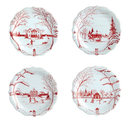 Juliska Country Estate Party Plates Ruby Set by Juliska