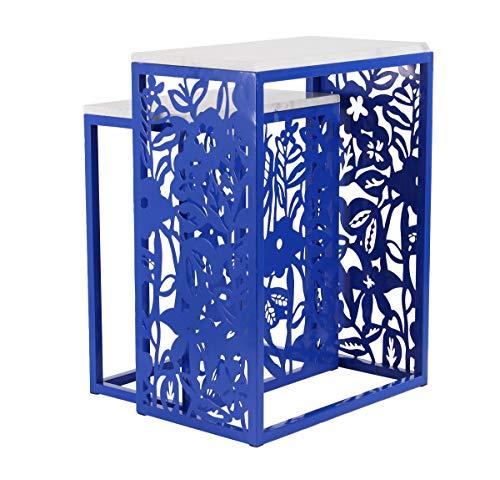 Deco 79 92123 Modern Floral Nesting End Tables, 12