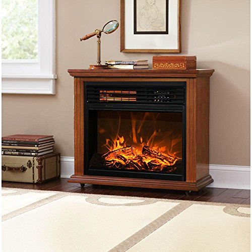 XtremepowerUS Infrared Quartz Electric Fireplace Heater Finish with Remote Controller (Oak) (Fireplace Electric Mantle)