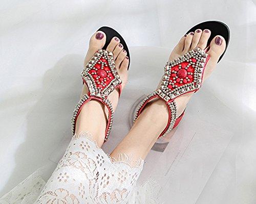 T de dos femmes Strap strass Sandales Style ethnique Zip Plage Thong Rouge plat perlé PX5q1pw