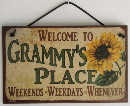 Egbert's Treasures 5x8 Vintage Style Sign with Sunflower Saying,Welcome to GRAMMY'S PLACE Weekends, Weekdays, Whenever Decorative Fun Universal Household Signs from