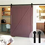 WINSOON 5FT Heavy Duty Black Single Sliding Barn Wood Door Hardware Steel Track Kit for Indoor and Outdoors