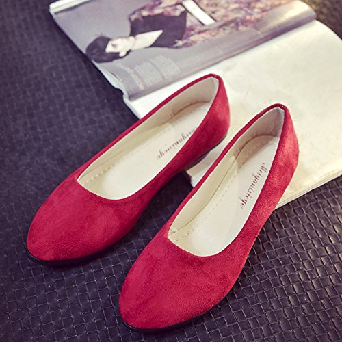 Haalife◕‿¿Women's Flat Shoes Classic Leather Casual Pointed Toe Slip On Shoes Ballet Flats Red