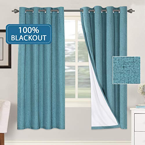 H.VERSAILTEX Functional 100% Blackout Curtain with White Liner for Bedroom Primitive Linen Look Curtains 2 Panels Thermal Insulated Curtains for Living Room (52 x 72 Inches, Teal)