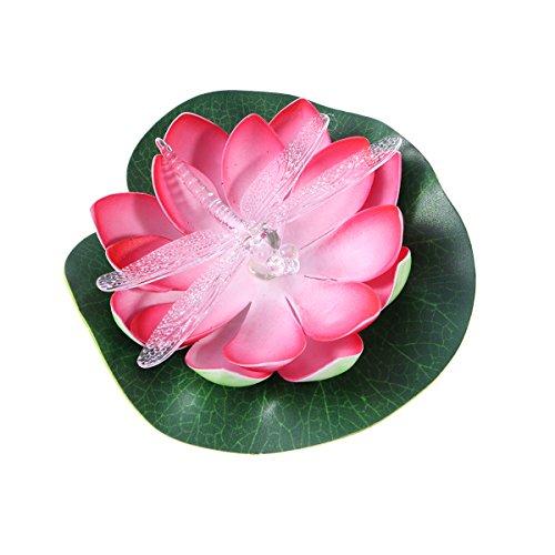 LEDMOMO Luz LED de energía solar flotante luz de la flor de loto Luz solar de colores resistente al agua para piscina...
